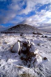 Loughcrew cairn covered in snow