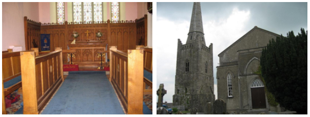 Interior and exterior of St Columba's Church Kells