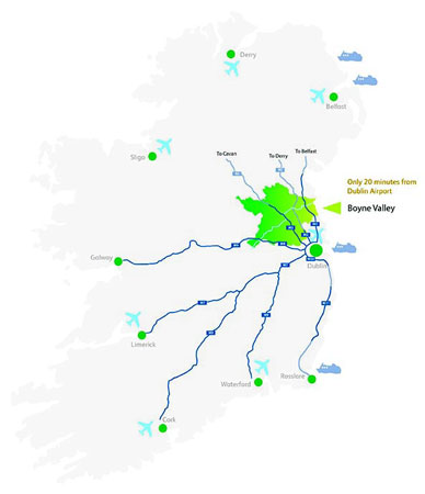 Map of Ireland showing the location of Meath