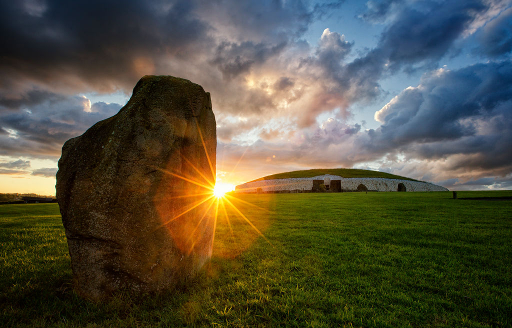 Newgrange with large stone in forefront