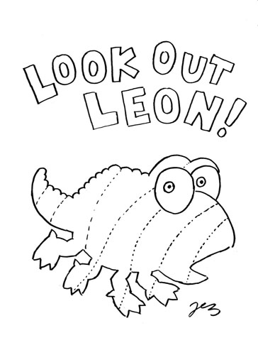 Look out Leon Colouring Page