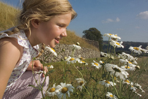 Girl with flowers at NewGrange County Meath