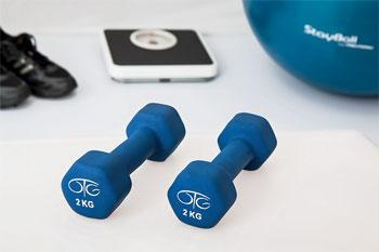 dumbells, exercise ball and scale