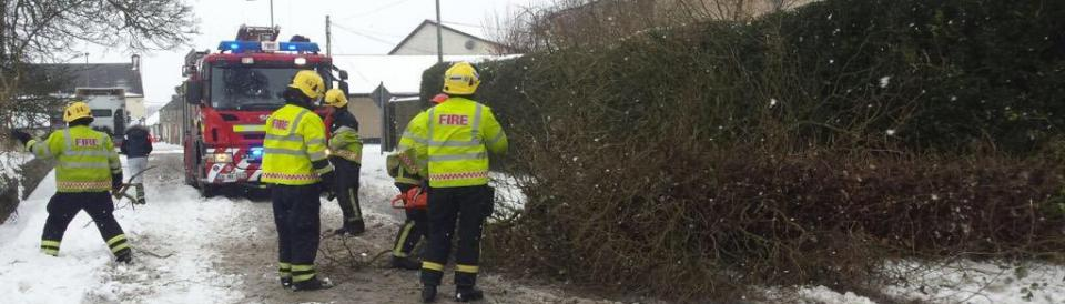 Meath Fire Service tackle a fallen tree in the snow