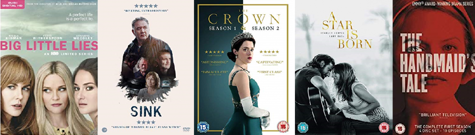 Covers of DVDs: The Handmaid's Tale, Big Little Lies, Sink, A Star is Born, The Crown